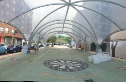 Cubierta espacio público en Iurreta